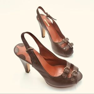 Max Studio Brown Leather Stacked Wood Heeled Shoes